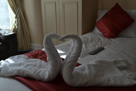 Birch Villa Hotel: Towels made into swans.
