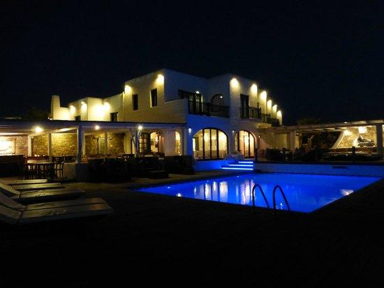 Tharroe of Mykonos Hotel: The Hotel  & Pool at Night