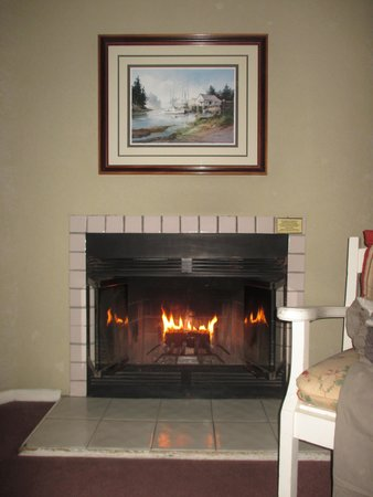 Cambria Pines Lodge: Loved the fireplace in our room