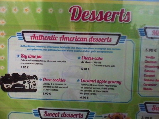 la carte des desserts picture of memphis coffee henin beaumont henin beaumont tripadvisor. Black Bedroom Furniture Sets. Home Design Ideas