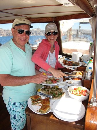 Captain George Santorini Yachting: delicious lunch buffet