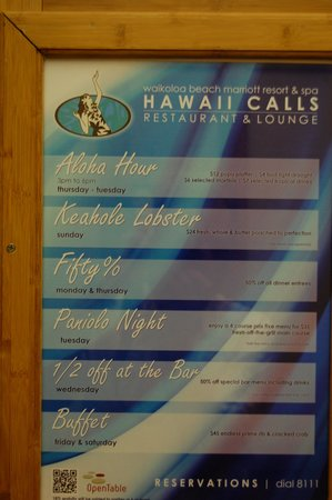 Hawaii Calls Restaurant & Lounge: nightly specials