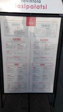 Ravintola Lasipalatsi: меню