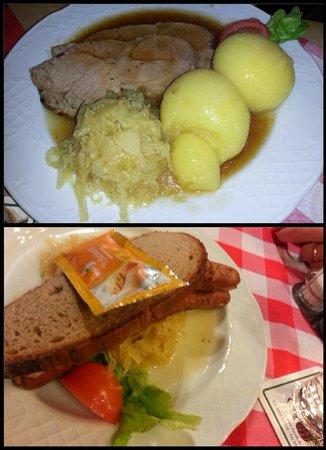 Brauereigasthof Fässla: Braciole di maiale con gnocchi e salsiccia con krauti