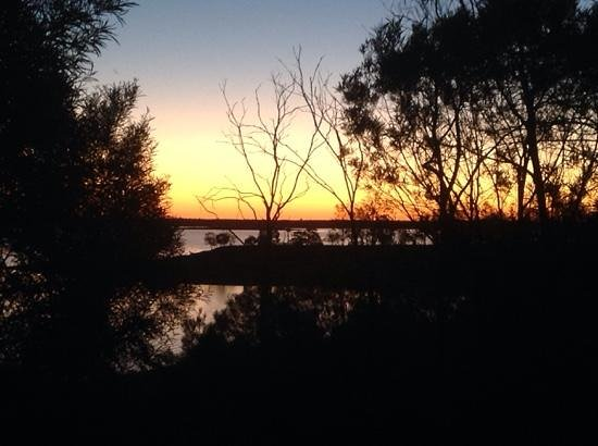 Lake Maraboon Holiday Village: sunset view from the delux cabin.