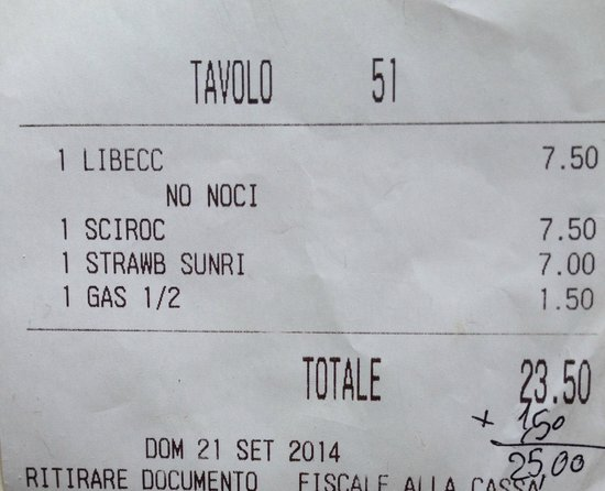 Angera, Italy: Receipt?