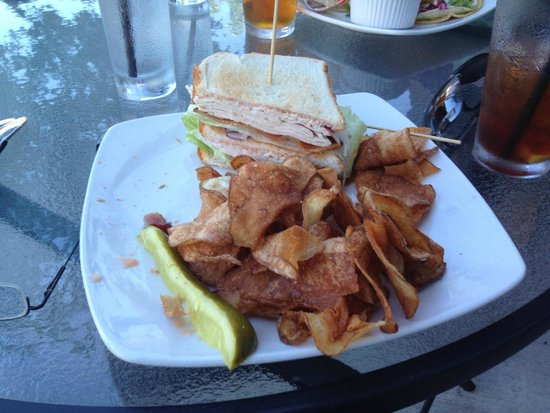 August Bistro and Bar: One half of my turkey club, with associated chips and pickle.