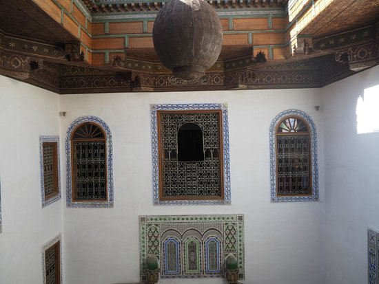 Riad Idrissy: view from room over central courtyard (towards other bedroom opposite)