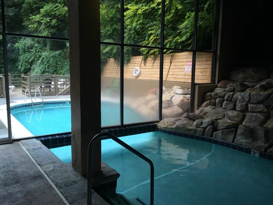 swim under glass wall to the outdoor section of the pool