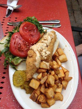 Mayfel's: Awesome catfish po'boy!!!