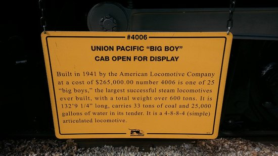 Museum of Transportation: One of the signs beside the UP Big Boy steam engine