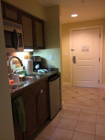Studio kitchenette facing the front door