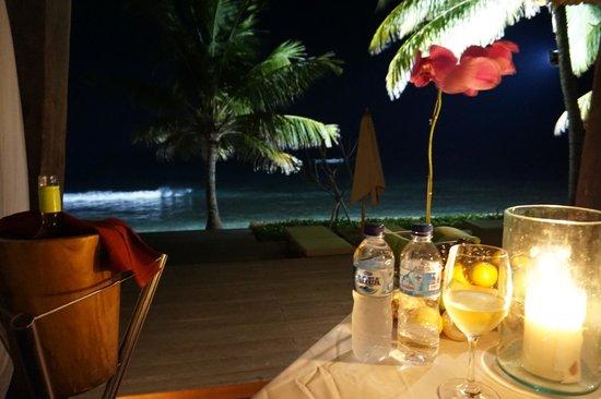 Romantic dinner for honeymooners.