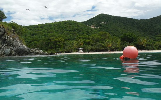National Park Underwater Trail: view of lifeguard station from the rocks