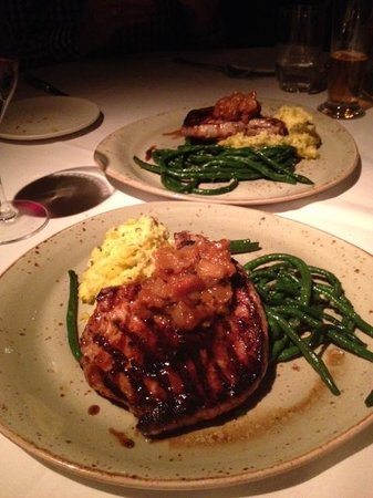Buckeye Roadhouse : Pork chops needed better trim but tasty - and the BEST polenta ever