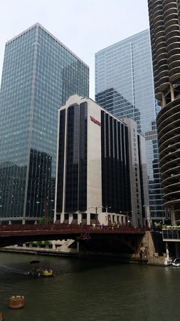 The Westin Chicago River North: The hotel viewed from the bridge close by
