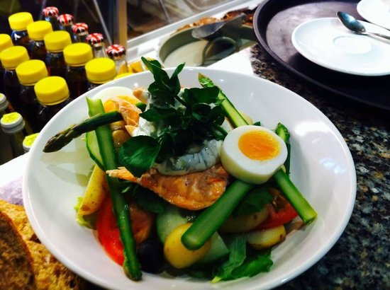 Hollys Coffee Shop & Sandwich Bar: Poached fly caught salmon new season asparagus jersey royals and fresh herb mayo