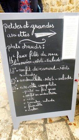 Le Prieure: Lunch blackboard meno