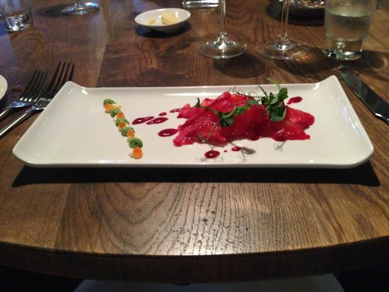 The Coach House By Michael Caines: Salmon beetroot gravlax