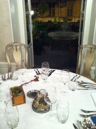 Restaurant Le Fantin Latour: our table, looking out on the herb garden (seating outside too)