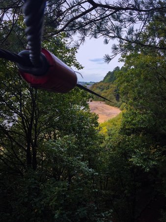 Bolton, UK: High zipline over the reservoir.