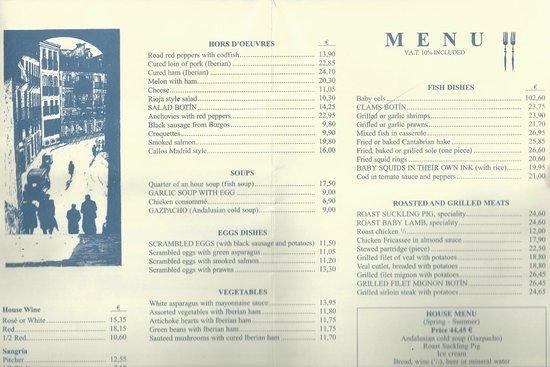Botin Restaurant Madrid Menu