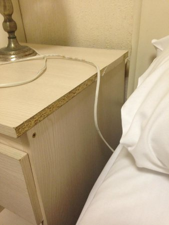 Royal Seabank Hotel: Bedside table, wires over bed and filthy