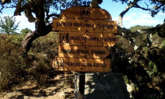 Giara di Gesturi - Escursioni a Cavallo: Cartelli sul percorso.
