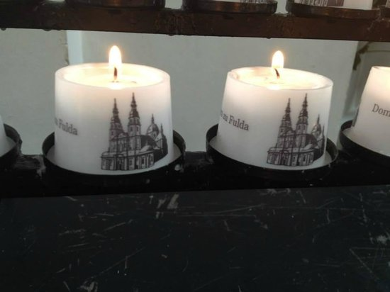 Dom zu Fulda: The 2 prayer candles we lit for our loved ones who have passed away.