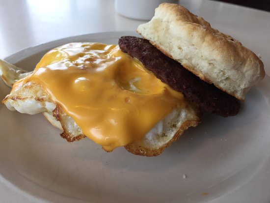 College Park Diner: Sausage egg and cheese on a biscuit