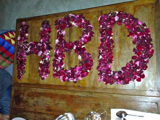 Happy Birthday in rose petals