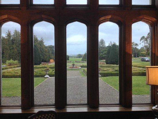 Adare Manor: library window view
