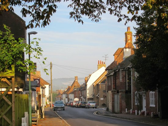 The Kings Head: The Village of Wye: view down Bridge Street across the end of the High Street