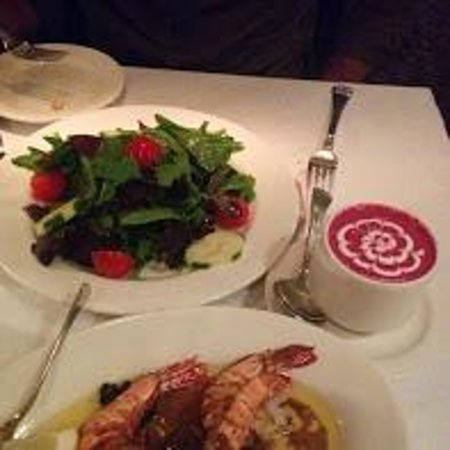 Hamilton's Grill Room: Appetizers! Shrimp w/ Anchovy Butter, Chilled Borscht and Salad