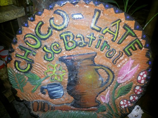 Choco-late de Batirol: Nice Wood Carving That Serves as a Signage inside the Chocolate Drink House