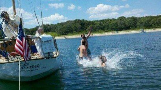 Sail Ena - Vineyard Sound Sail Charters : Swimming at Tarpaulin Cove