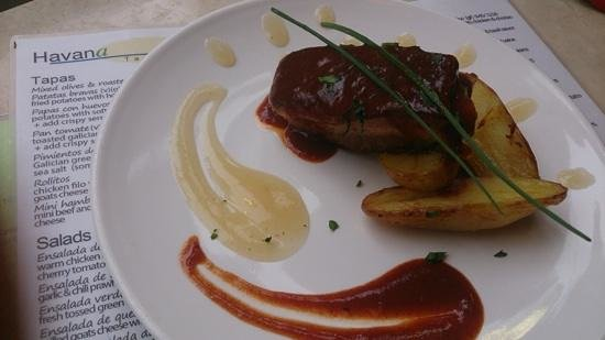 Havana Tapas Bar: slow cooked pork belly with apple sauce and baby rosemary potatoes.