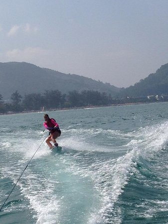 Tropica Resort and Restaurant: Out the front of the hotel wake boarding