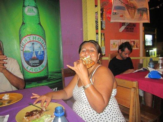 Belizean Flavas : my dear friend enjoying her delicious lobster!
