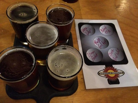 Asheville Pizza & Brewing Co.: 5 microbrews from Asheville Brewing Co.