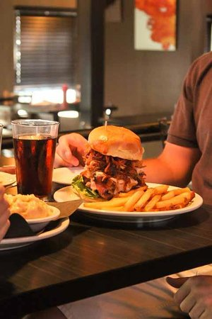 Food & Fire BBQ Restaurant: The famous Mountain Burger.  'Nuff said.