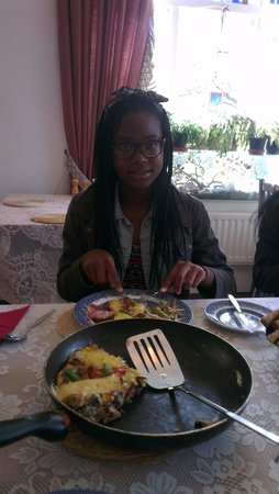 Leena's Guest House : Omelette requested by kids made with fresh ingredients