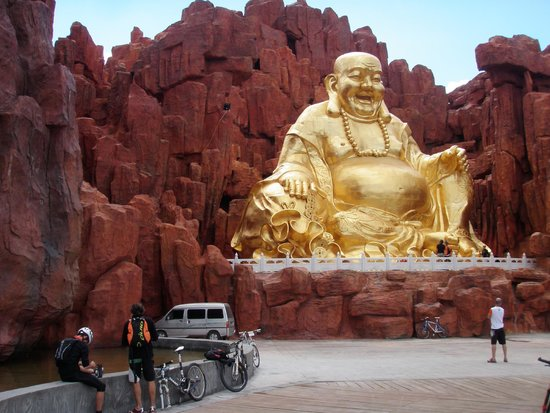Ordos, China: mur de bouddha