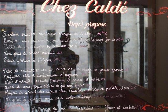Chez Calde: The menu, 9 September 2014