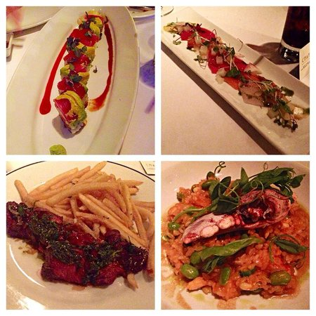 Chaya Brasserie: Dragon Roll, sashimi carpaccio, steak frites, and lobster risotto.