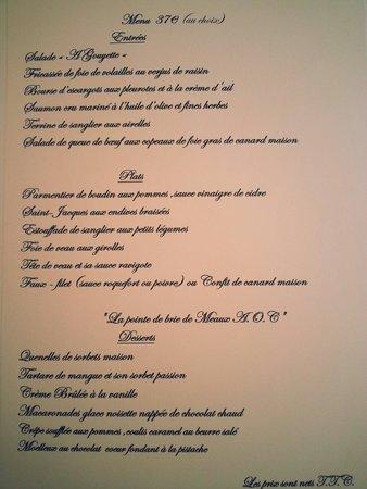 Meaux, Francia: Le menu À gouyette à 37€