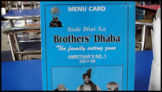 Bade Bhai Ka Brothers Dhaba: This old blue menu is replaced now with a new one