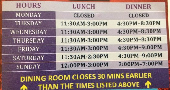 Dhaba Express: Hours