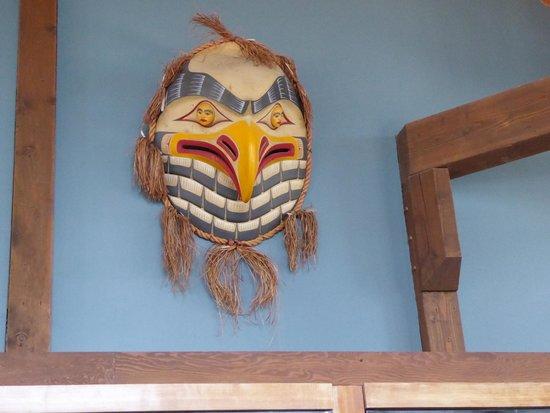 Eagle's Eye Restaurant - Kicking Horse Mountain Resort: mask on the wall of the restaurant