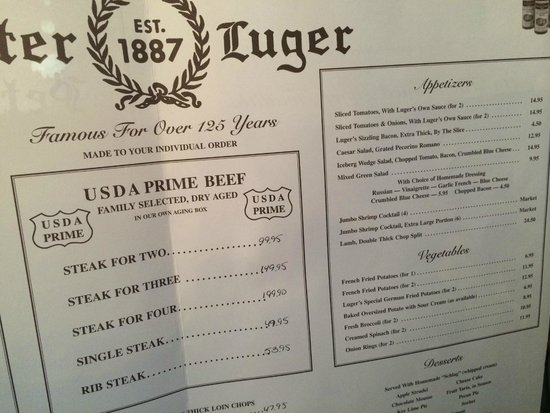 simple effective menu - Picture of Peter Luger Steak House ...